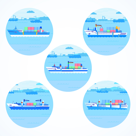 Set of round icons with container ships, sea and port. Colored. Please see other sets of icons with ships.