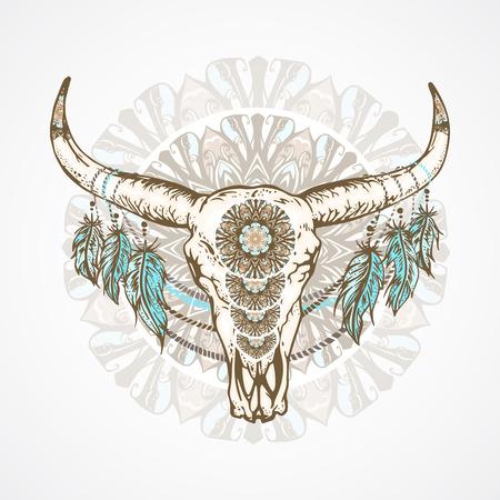 Ilustración de vector con un cráneo de búfalo salvaje con plumas y patrones decorativos, en el estilo boho. En un fondo redondo decorativo. Dibujado a mano gráfico. Para camisetas, carteles y otros diseños. Ilustración de vector