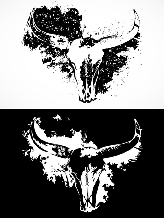 Vector illustration with a wild buffalo skulls. Black and white silhouettes with grunge texture and spots. For t-shirts, posters and other your design.