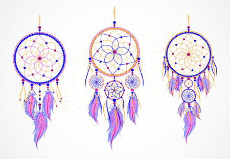 occultism: Vector set of decorative dreamcatchers with feathers. Magic symbol in violet, blue and yellow color. For t-shirts  and other your design. Please see other sets of dreamcatcher.