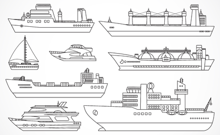 Vector set of ships: tanker, bulk carrier, dry cargo ship, icebreaker, trawler, yacht, sailboat.  Black contours. Please see other sets of ships.