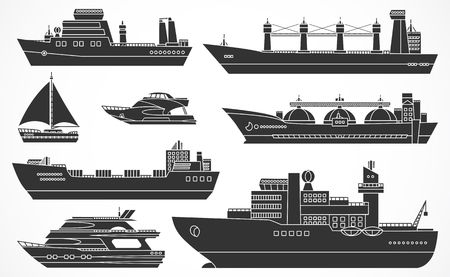 Vector set of ships: tanker, bulk carrier, dry cargo ship, icebreaker, trawler, yacht, sailboat.  Black silhouettes. Please see other sets of ships. Çizim