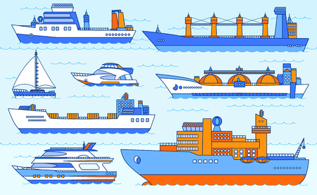 pez vela: Conjunto de vectores de barcos: petrolero, granelero, buque de carga seca, rompehielos, barco rastreador, yate, velero. Ilustración de color Por favor vea otros juegos de naves.