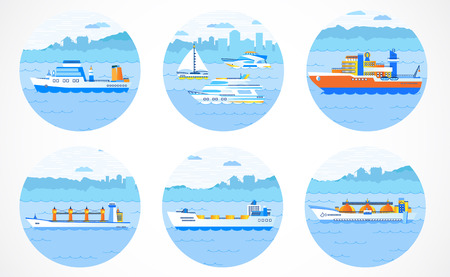 Vector set of round icons with ships: tanker, bulk carrier, dry cargo ship, icebreaker, trawler, yacht, sailboat. Colored. Please see other sets of icons with ships.