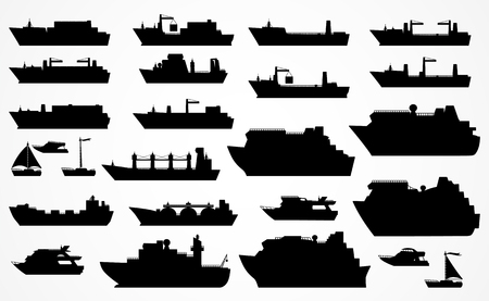 Vector set of different ships: dry cargo ships, container ships, tanker, bulk carrier, dry cargo ship, icebreaker, trawler, yacht, sailboat, ?ruise ship. Black silhouettes. Please see other sets of ships. Illustration