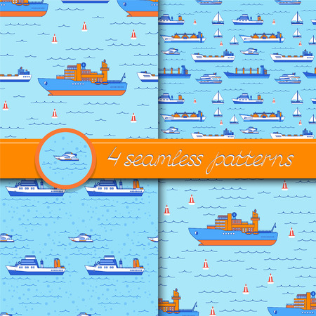 Vector set of four seamless patterns with ships: tanker, bulk carrier, dry cargo ship, icebreaker, trawler, yacht, sailboat.