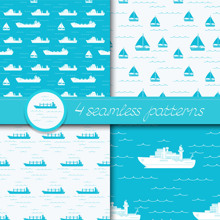 Vector set of four seamless patterns Illustration