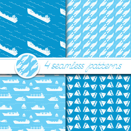 Vector set of four seamless patterns with ships: bulk carrier, dry cargo ship, yacht, sailboat.