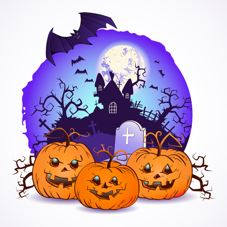 Halloween vector illustration with pumpkins heads and haunted house over full moon
