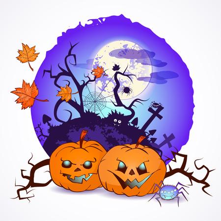 Halloween vector illustration with pumpkins heads graveyard over full moon background Illustration