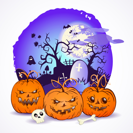 Halloween vector illustration with pumpkins heads and scull on the night sky background of the full moon, snags and graves with crosses. Illustration