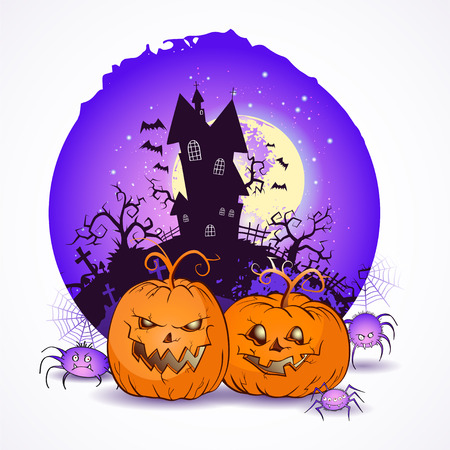 Halloween vector illustration with pumpkins heads and spiders on the night sky background of the full moon, snags and gloomy castle. Illustration