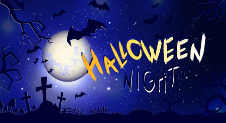 Vector  illustration with text Halloween Night on background with full moon, graves and bats. Hand drawn lettering.