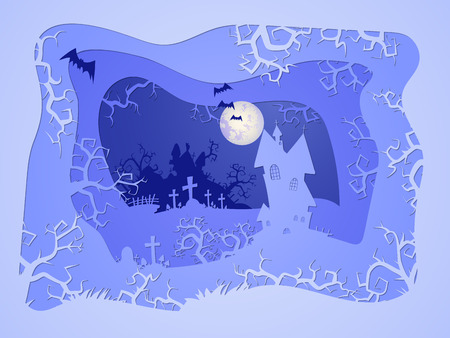 Vector Halloween illustration with castle and grave on the night sky background  with  full moon and bats. 3d layered stylization.