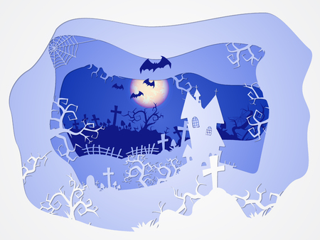 thickets: Vector Halloween illustration with castle and graves on the night sky background  with  full moon and bats. 3d layered stylization.
