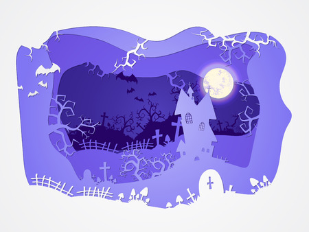 Vector Halloween illustration with castle and graves on the night sky background  with  full moon and bats. 3d layered stylization.