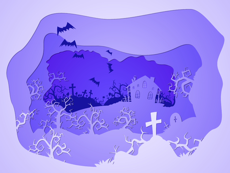 Vector Halloween illustration with graves and  house on the night sky background with bats. 3d layered stylization.