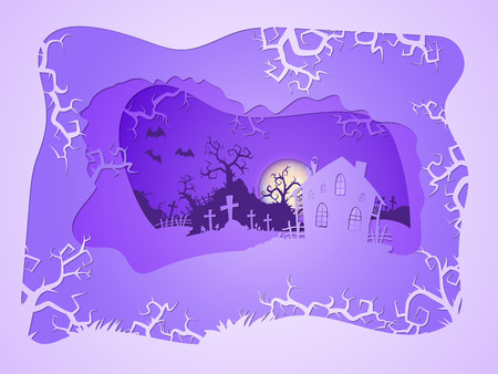 Vector Halloween illustration with house and graves on the night sky background with full moon and bats. 3d layered stylization. Illustration