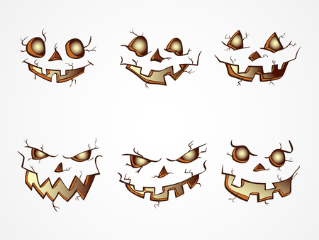 Vector set of  Halloween Pumpkins faces with different emotions on light background. Isolated.