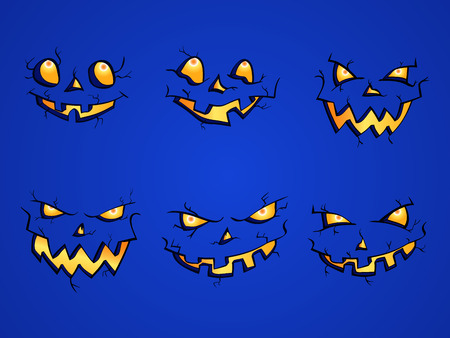ominous: Vector set of  Halloween Pumpkins faces with different emotions on blue background. Isolated.