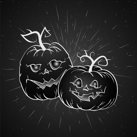 Vector vintage Halloween illustration with hand drawn pumpkins on old textural background. Dark. Illustration