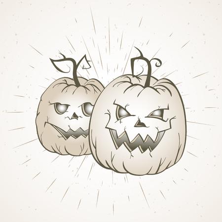 Vector vintage Halloween illustration with hand drawn pumpkins on old textural background. Light. Illustration