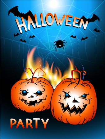 Vector illustration with flame, pumpkins head and text Halloween Party on the background of the night sky,web, bats and spider. Hand drawn lettering.