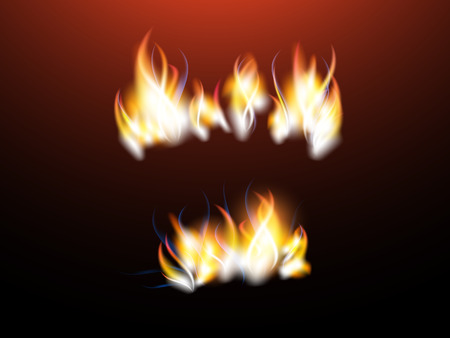 Realistic flames with sparks for your design. Vector set. Used mesh gradient. Red color. Illustration