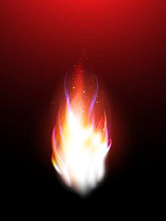 Realistic flames with sparks for your design. Vector illustration. Used mesh gradient. Red color.