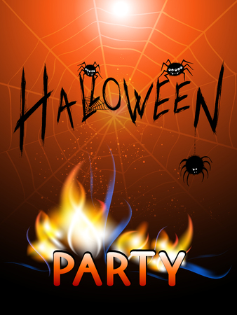 Vector illustration with burning inscription, spiders and text Halloween Party on the night background with webs. Hand drawn lettering.