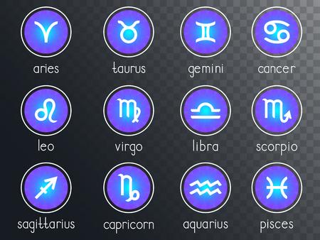 Vector set of zodiac signs round icons on a transparent background. Horoscope symbols collection: aries, taurus, gemini, cancer, leo, virgo, libra, scorpio, sagitarius, capricorn, aquarius, pisces. Colored. Stock Illustratie
