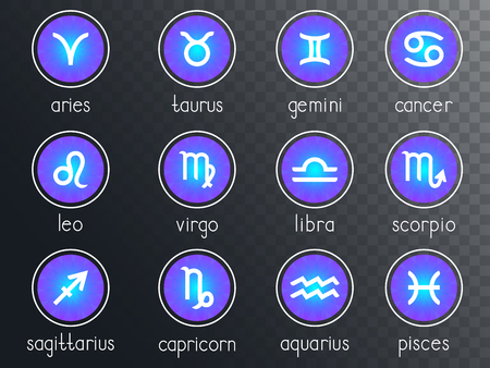 Vector set of zodiac signs round icons on a transparent background. Horoscope symbols collection: aries, taurus, gemini, cancer, leo, virgo, libra, scorpio, sagitarius, capricorn, aquarius, pisces. Colored. Ilustracja