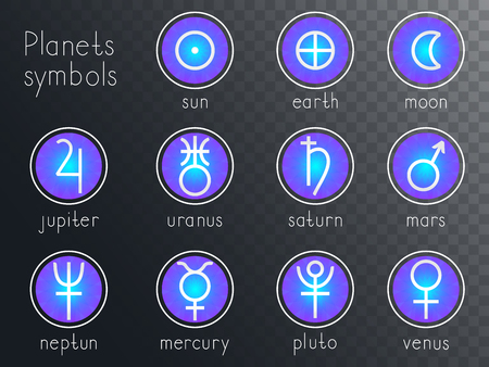 Vector set of round icons with astrological planets symbols. Signs collection: sun, earth, moon, saturn, uranus, neptune, jupiter, venus, mars, pluto, mercury. Colored. 스톡 콘텐츠 - 102580742