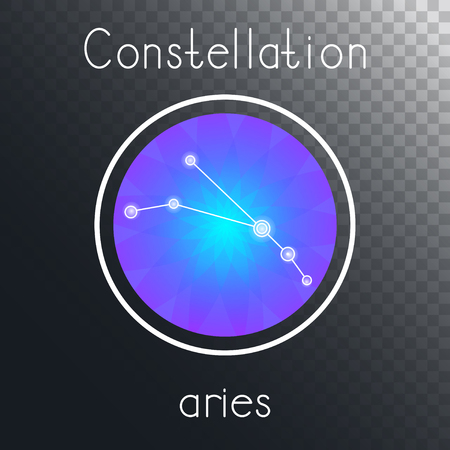 Vector round icon with Zodiac constellation ARIES on a transparent background with inscription. Colored.