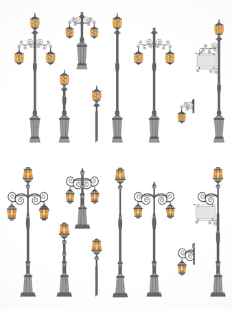 Vector set of street lights. Collection in flat style. Ð¡olorful. Illustration