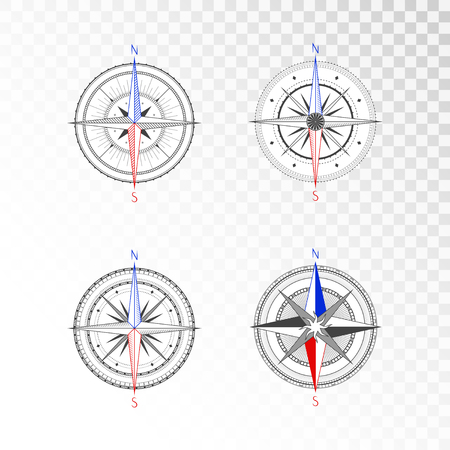 Vector set of vintage compasses or marine wind roses. Collection in line art style. Isolated on transparent background. Black line with the marked color the basic directions North and South.