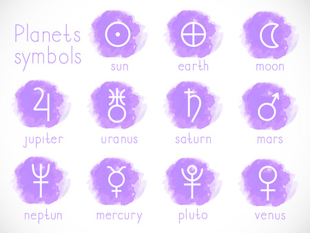 Vector set of astrological planets symbols with elements. Hand drawn. Signs collection: sun, earth, moon, saturn, uranus, neptune, jupiter, venus, mars, pluto, mercury. Colorful.