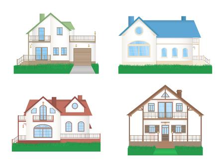 Vector conjunto de casas coloridas privadas con césped. Diseño plano.