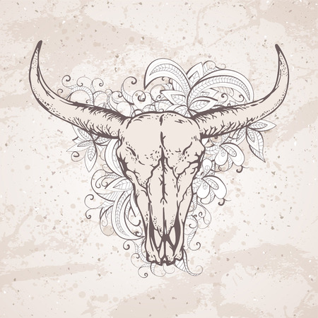 Vector illustration with a wild buffalo skulls and flowers pattern on a grunge background. For t-shirts, posters and other your design.