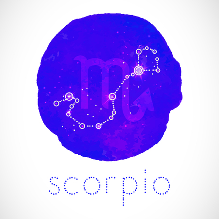 Vector illustration with Zodiac sign and constellation SCORPIO on a grunge ink background. Colorful.