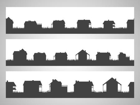 Satz von drei horizontalen nahtlosen Illustration mit Landhäusern. Schwarze Silhouetten. Vektorgrafik