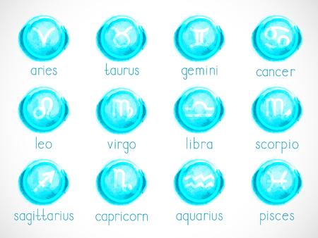 Vector set of zodiac signs with  elements. Hand drawn. Horoscope symbols collection: aries, taurus, gemini, cancer, leo, virgo, libra, scorpio, sagitarius, capricorn, aquarius, pisces. Colorful.