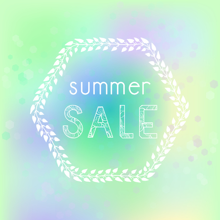 Vector illustration with hand drawn floral frame, abstract background and patterned inscription Summer Sale.