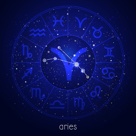 Zodiac sign and constellation ARIES with Horoscope circle and sacred symbols on the starry night sky background. Vector illustrations in blue color.