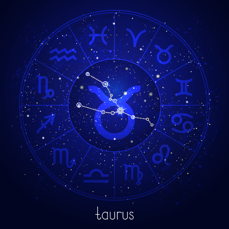 Zodiac sign and constellation TAURUS with Horoscope circle and sacred symbols on the starry night sky background. Vector illustrations in blue color.