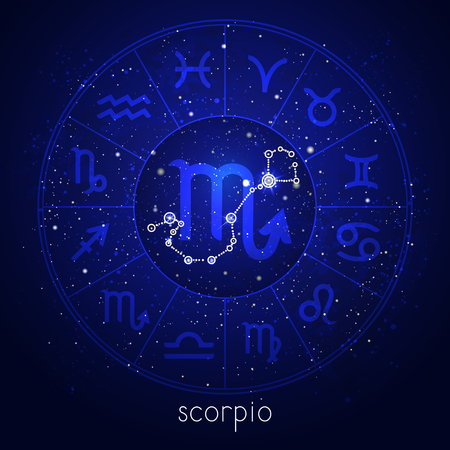 Zodiac sign and constellation SCORPIO with Horoscope circle and sacred symbols on the starry night sky background. Vector illustrations in blue color.
