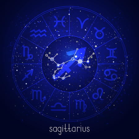 星空の背景に星占いサークルと神聖なシンボルを持つ星座星座。青の色でベクトルイラストレーション。