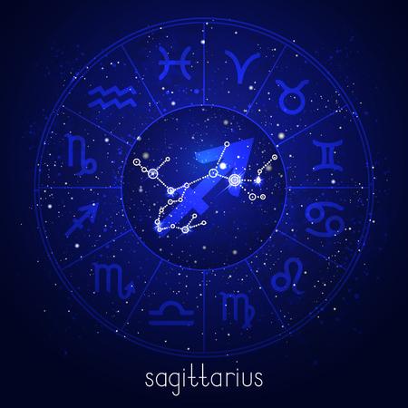 Signo del zodíaco y constelación de SAGITARIO con círculo del horóscopo y símbolos sagrados en el fondo del cielo nocturno estrellado. Ilustraciones vectoriales en color azul.