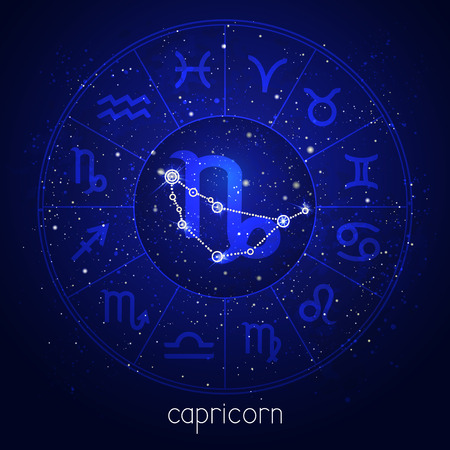 Zodiac sign and constellation CAPRICORN with Horoscope circle and sacred symbols on the starry night sky background. Vector illustrations in blue color.