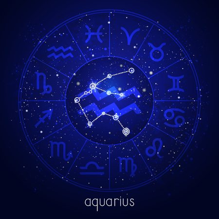 Zodiac sign and constellation AQUARIUS with Horoscope circle and sacred symbols on the starry night sky background. Vector illustrations in blue color.